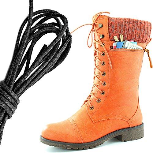 Dailyshoes Womens Combat Stijl Lace Up Enkellaarsje Ronde Teen Militaire Knit Creditcard Mes Geld Portemonnee Pocket Laarzen, Zwart Oranje Pu
