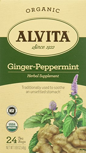 Alvita Organic Herbal Tea Caffeine Free Ginger-Peppermint -- 24 Tea -