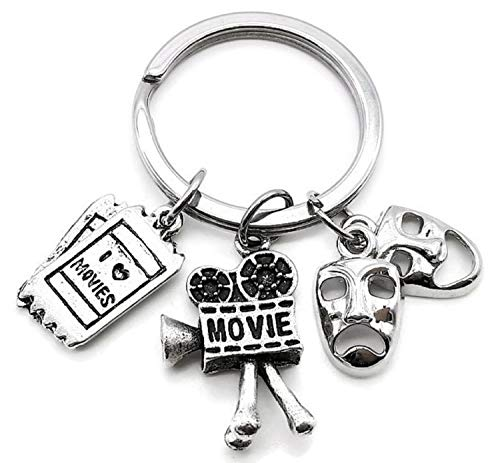 (Kit's Kiss Movie Keychain, Movie Camera Keychain, Movie Ticket Charm Keychain, Comedy Tragedy Mask Keychain, Hollywood Movie Charm Keychain, I Love Movie)