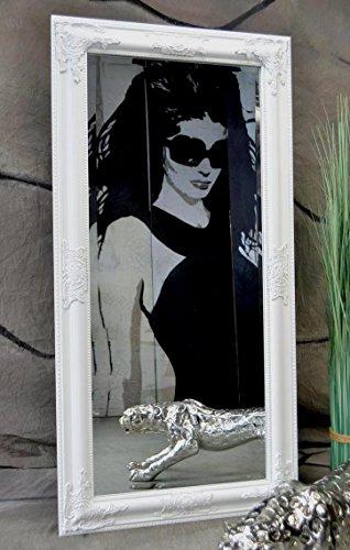 Livitat® Wandspiegel Badspiegel Spiegel barock antik Weiß Rokoko 120 x 60 cm G9