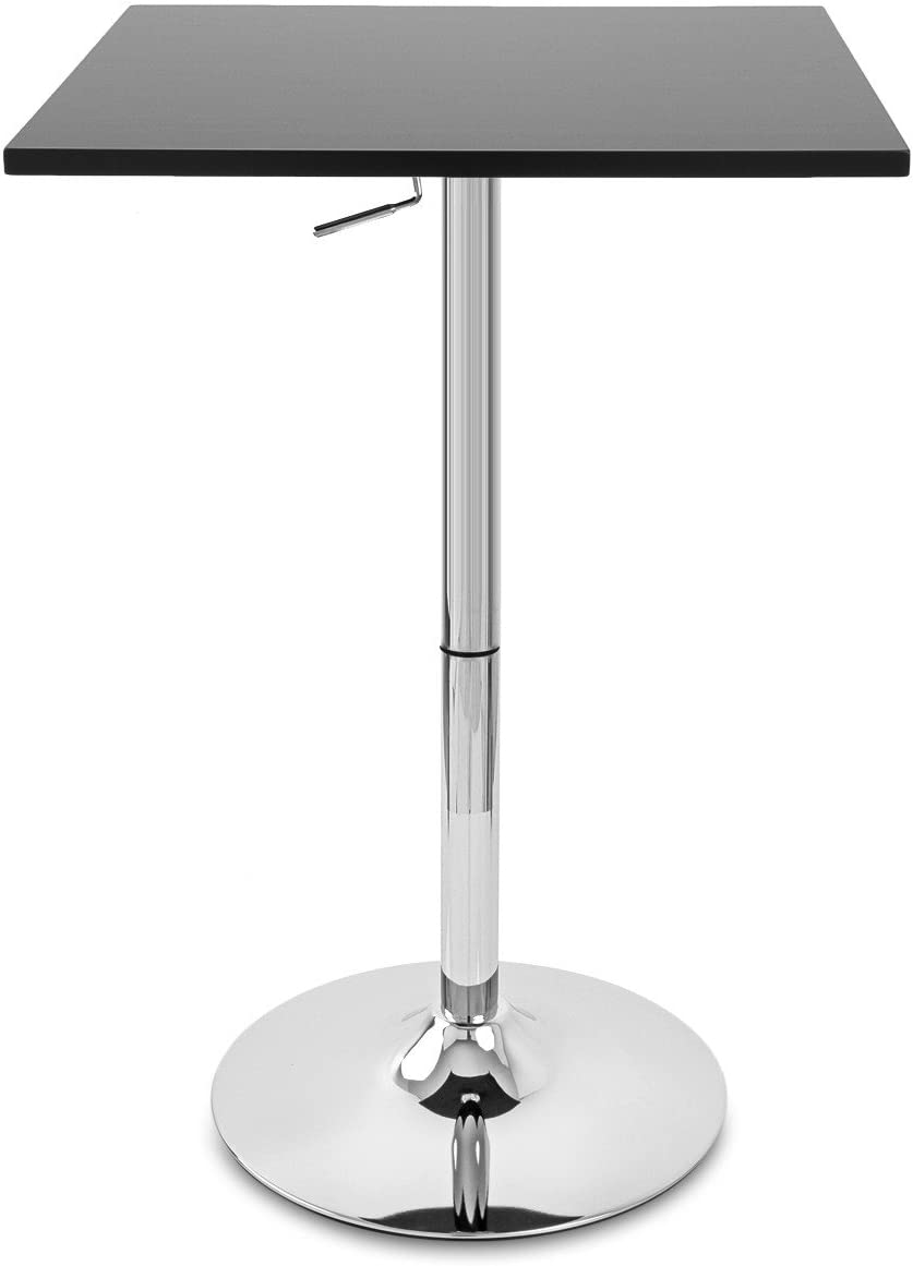 Bronte Living Bar Table Square Top with Adjustable Height and Swivel Design Black