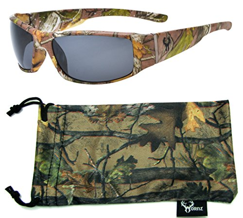 Hornz Brown Forrest Camouflage Polarized Sunglasses for Men Full Frame Wide Arms & Free Matching Microfiber Pouch – Brown Camo Frame – Smoke Lens