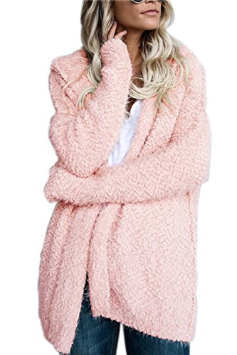 PiePieBuy Women Top Fashion Warm Long Sleeve Solid Hooded Fleece Cardigan Coat Wraps