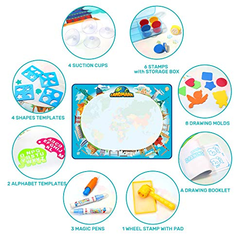 CUTE STONE Magic Water Doodle Mat 48 X 36 Inches Large Drawing Doodling Mat Painting Coloring Mat for Kids Toddlers Painting Writing Doodle Board Educational Toys for 3 4 5 6 7 Year Old Girls Boys