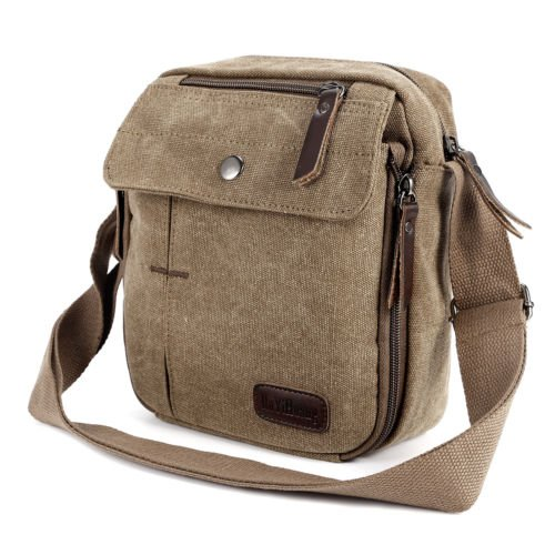 eafef8f6c8 Amazon.com  The Pecan Man light Brown Men s Vintage Canvas Messenger Shoulder  Bag Travel Hiking Satchel Military Shoulder Bag  Sports   Outdoors