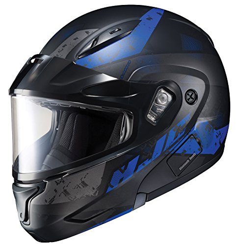 (HJC Helmets Unisex-Adult Full-face Style CL-Max II Friction Snow Helmet with Dual Lens Shield (Black/Blue, X-Large) )