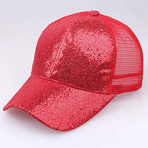 Hot Sales!! ZOMUSAR Sequins Ponytail Baseball Cap Shiny Messy Bun Snapback Hat Sun Caps for Women and Men (Red, L) by ZOMUSAR (Image #3)
