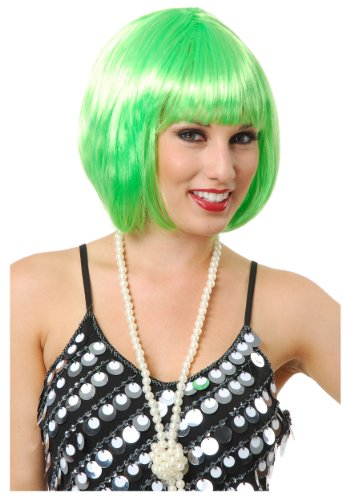[Charades unisex-adult Short Bob Lime Green Wig Standard] (Lime Green Wigs)