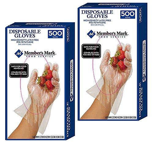 Member's Mark Plastic Disposable Gloves Food Safe HDPE (1000)
