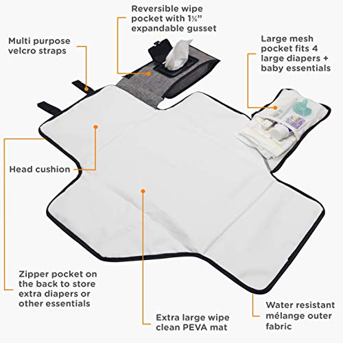 liuliuby Smart Changing Kit - Portable Diaper Changing Pad with Front Wipe Pocket - Extra Large Mat for Baby and Toddler by liuliuby (Image #1)