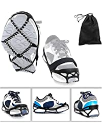 Ice Cleats, Traction Cleats Grippers with magic tape Straps and a Storage Bag Non-slip Over Shoe/Boot Rubber Spikes Crampons Anti Slip Walk Traction Cleats for Hiking Walking on Snow and Ice