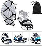 Ice Cleats, Traction Cleats Grippers with Velcro Straps and a Storage Bag Non-Slip Over Shoe/Boot Rubber Spikes Crampons Anti Slip Walk Traction Cleats for Hiking Walking on Snow and Ice