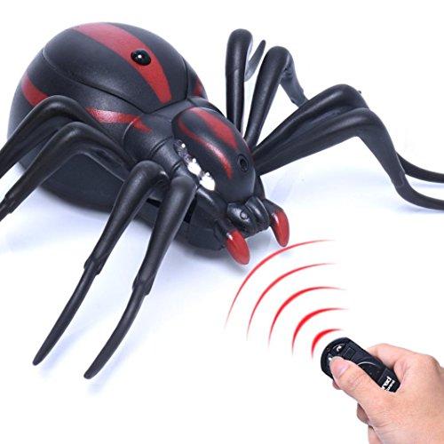 Xshuai haute réaliste Simulation Animal Spider télécommande infrarouge pour enfants jouet Cadeau Cadeau d'anniversaire Domicile ou difficiles Jouets 11*16*4cm, Noir , Dimension: 11*16*4cm