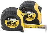 Titan Tools 10901 25' Quick-Read Tape Measure (2 Pack)