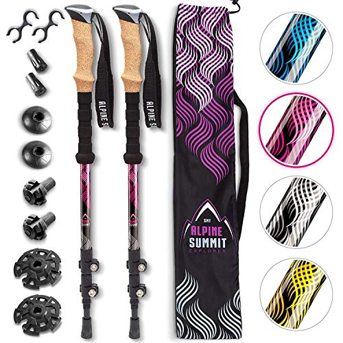 Alpine Summit Hiking Trekking Poles with Anti-Shock Tips, Best 2 Piece Adjustable Walking Survival Sticks for Women & Men, Collapsible Lightweight Strong Aluminum for Travel, Cork Grip Padded Handles