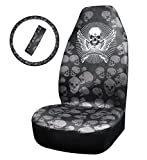 Car Front Seat Cover Unique Skull Pattern Cloth Bucket Seat Covers with 1 Steering wheel cover and 1 seat belt cover (Skull Bucket seat cover)