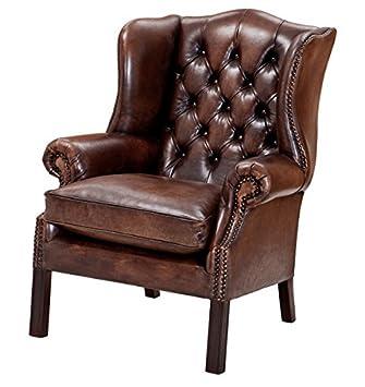 Casa Padrino Luxus Echtleder Ohrensessel Chesterfield Vintage