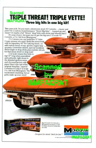 Red Corvette 1967: Street Strip Stock Vette: Monogram 1:12 Model: Great Original Photo Print Ad