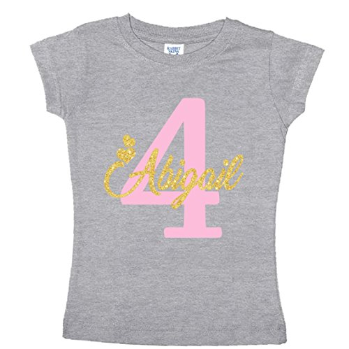 NanyCrafts' PERSONALIZED Birthday Girl Glitter Gold Girl's shirt 4Y Heather (Girls Glitter T-shirt)
