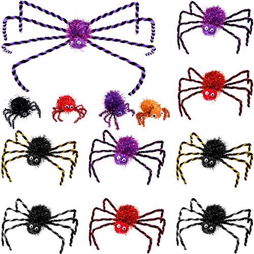 Halloween Spider Decorations - 13 Pieces Halloween Spider Decorations Fake