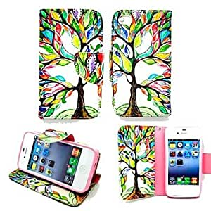 Life Tree PU Leather TPU Back Painting Card Holder Wallet Case with Oval Buckle for iPhone 4/4S