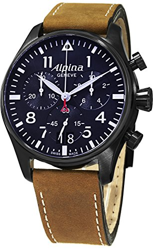 Alpina Startimer Pilot Big Date Chronograph Men's Brown Suede Leather Strap Swiss Made Watch AL-372N4FBS6
