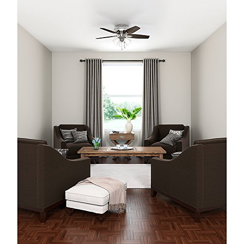 Hunter 51079 Hunter Newsome Low Profile with 3 Kit Ceiling Fan with Light, 42'', Brushed Nickel by Hunter Fan Company (Image #9)