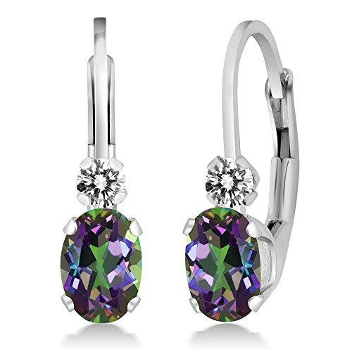 1.07 Ct Oval Green Mystic Topaz White Diamond 925 Sterling Silver Earrings ()