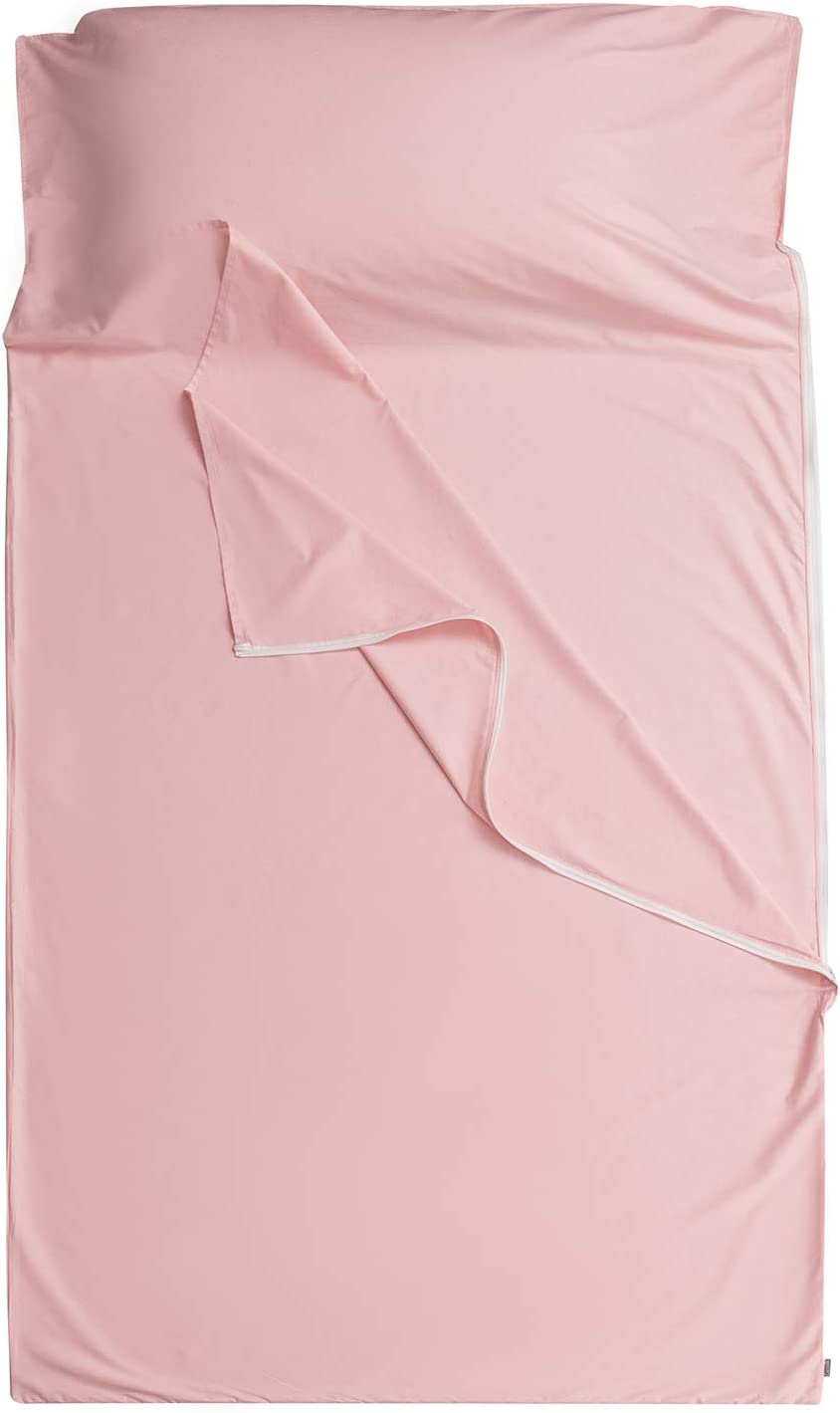 100/% Cotton Sleep Sacks Adults Cozysilk Sleeping Bag Liner Camping Sheets Hotel Travel Sheets with Full Length Tearaway Zipper