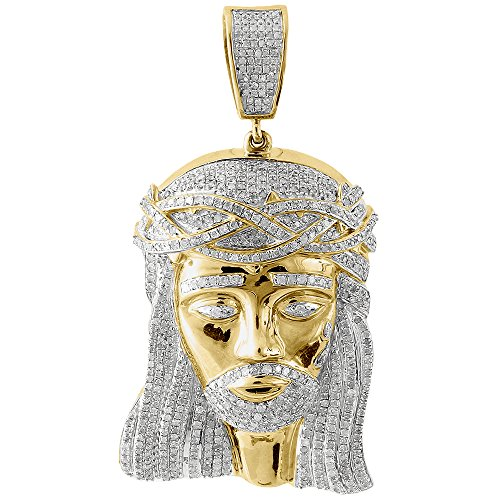 10K Yellow Gold Round Cut Diamond Jesus Piece Pendant 2.55 Cttw