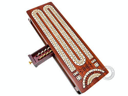 House of Cribbage - Continuous Cribbage Board / Box inlaid in Bloodwood / Maple - 2 Track - Sliding Lid with Score marking fields for Skunks, Corners and Won Games ()
