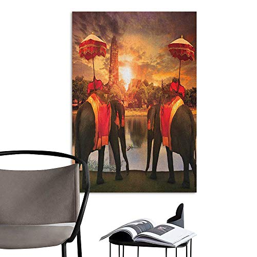 Home Decor Decals Mural Asian Animals Dressing Traditional Costumes Standing in Front of Pagoda Patience Symbol Print Multi TV Backdrop Wall W24 x H36