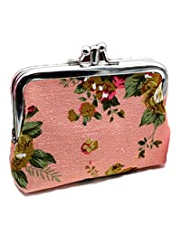 iSuperb Coin Pouch Purse Cute Double-layer Rose Pattern Canvas Gift Jewelry Cards Trinkets Pouch Clasp Closure Wallet 4.7x3.5 inch