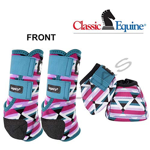 Classic Equine Large LEGACY2 Front Bell 4 Pack Horse Boots Neoprene Fiesta