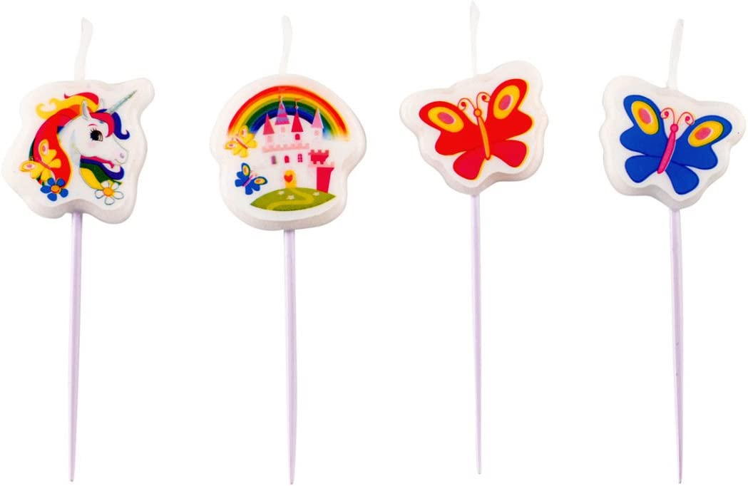 NET TOYS 4 Velas de Pincho - Cumpleaños Niña | Candelas de Torta Fiesta de Unicornio | Adorno Cumpleaños Unicorn | Ornamentación Niñas Caballo