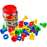 Jumbo Nuts & Bolts 32 pcs Sets - Stem Toys for Boys & Girls - Educational Toy for Baby & Toddler & 1 2 3 Year Olds Kids - Learning Colors & Shapes - Improving Matching & Motor Skills