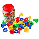 Jumbo Nuts & Bolts 32 pcs Sets - Stem Toys for Boys & Girls - Educational Toy for Baby & Toddler & 1 2 3 Year Olds Kids - Learning Colors & Shapes - Improving Matching & Motor Skills Reviews