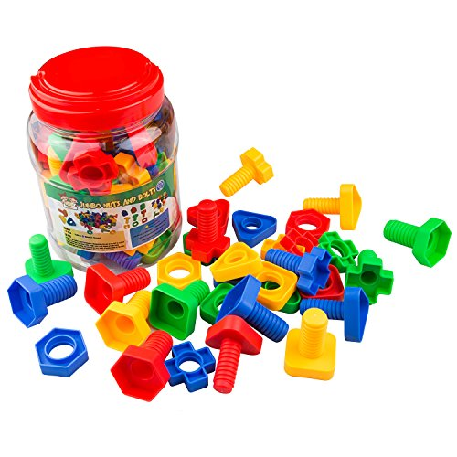 Jumbo Nuts & Bolts 32 pcs Sets – Stem Toys for Boys & Girls – Educational Toy for Baby & Toddler & 1 2 3 Year Olds Kids – Learning Colors & Shapes – Improving Matching & Motor Skills