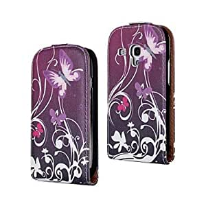 LZX Butterfly Pattern PU Leather Full Body Case for Samsung Galaxy S3 mini I8190