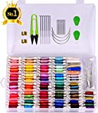 Embroidery Floss with Organizer Storage Box 158 String Kits 100% Long-Staple Cotton Bracelets String,Metallic Embroidery Thread,Colorful Wool Roving and Floss Bobbins, Cross Stitch Tool Kit