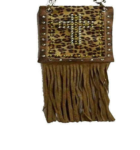Fashion Bags for Women - LEOPARD WITH FRINGE, Small Travel Pouch - BROWN, 6