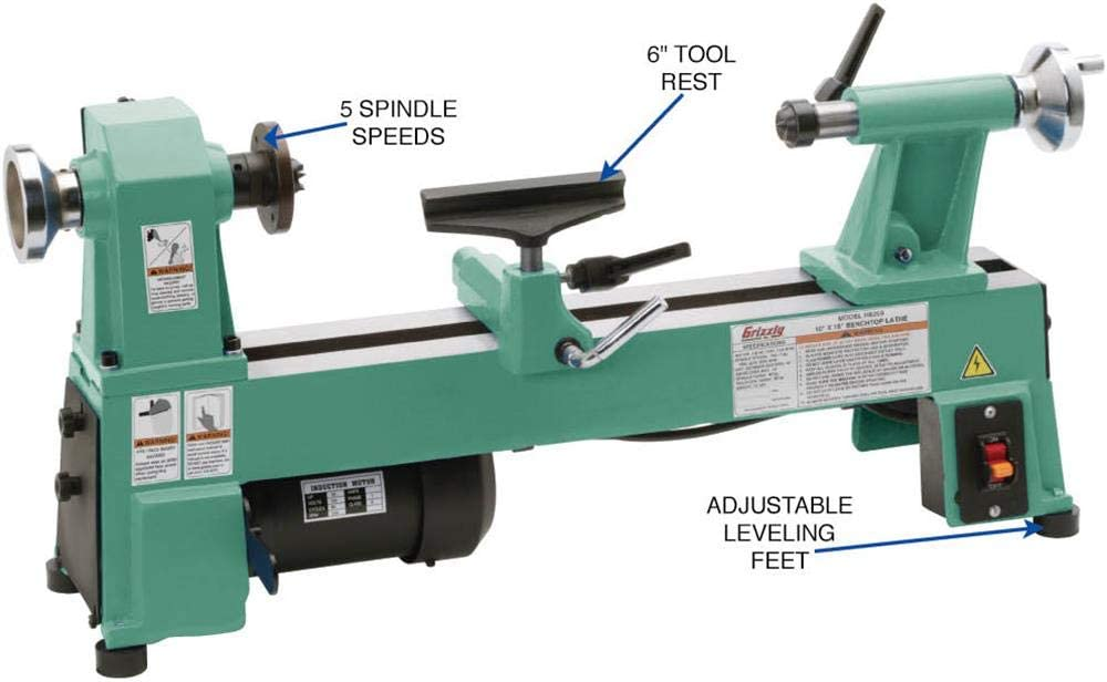 """Grizzly Industrial H8259-10"""" x 18"""" Benchtop Best Wood Lathe for Turning Bowls"""