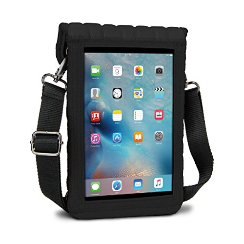 USA Gear Tablet Holder Case Compatible with iPad Mini 4 - Travel Bag Carry Cover with Built-in Capacitive Screen Protector & Adjustable Shoulder Carrying Strap fits iPad Mini Tablets (Black)