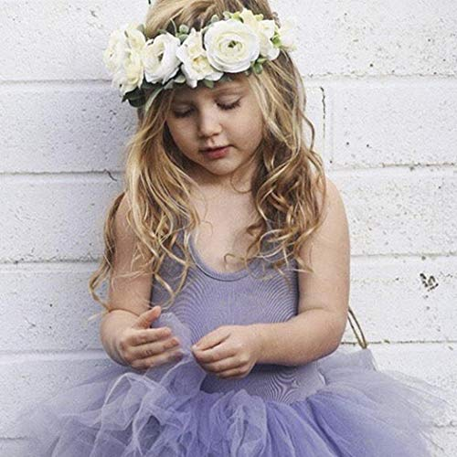 Aukmla Bridesmaid Flower Crown Wedding Flower Wreath Headpiece Bridal Crown Bohemian Headband Dainty Floral Crown for Women and Girls