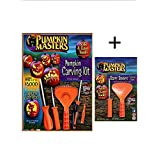 Pumpkin Masters America's Favorite Pumpkin Carving Kit Bundle - 12 Patterns, 4 Saws, 2 Scraper Scoops, 1 Poker - Create that Perfect Pumpkin with the Kids!!! Safer Than Knives!!