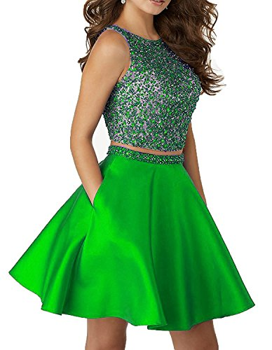 Little Star Lime Green Satin Homecoming Dresses Two Piece 2017 Short For Juniors Prom Dresses With Pockets A Line Cocktail Party Ball Gown, 16