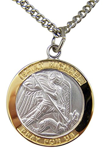 Gold and Sterling Silver Tu-Toned Archangel Saint St Michael Medal Pendant, 7/8 Inch