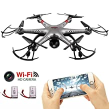 MOONBROOK Drone Toy Model Aircraft with HD Camera 2.4G 6-Axis Remote Controlled Gyro RC Headless Quadcopter Helicopter and Headless Mode 360° Rolling Drone