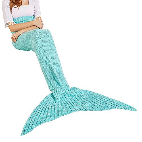 YEAHBEER Mermaid Tail Blanket for Adult,Cozy Super Soft All Seasons Sleeping Blankets,Mermaid Blanket Best Gifts for Girls-Women(71x 32) (D- Shark Tail Green)