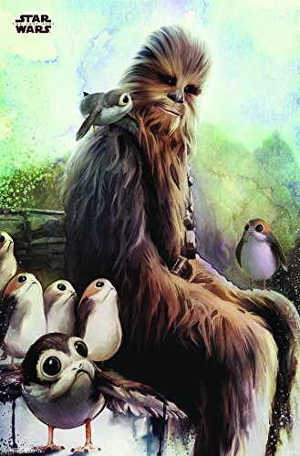 Trends International Star Wars the Last Jedi Wookiee & Porg Wall Poster, 22.375